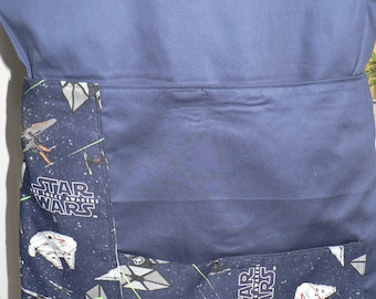 Handmade Chair Bag First Name Embroidered Free Star Wars Blue (With 2 Pockets)