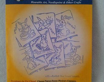 Aunt Martha's Rabbit Tea Towel Motifs - Embroidery Transfers 675 - - Hot Iron Sewing Transfer - DIY Needlecraft Motifs - Rabbit - Bunny