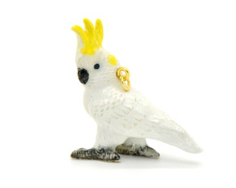 1 - Porcelain Sulphur-Crested Cockatoo Pendant Hand Painted Glaze Ceramic Animal Small Ceramic White Parrot Bead Jewelry Supplies (CA201)
