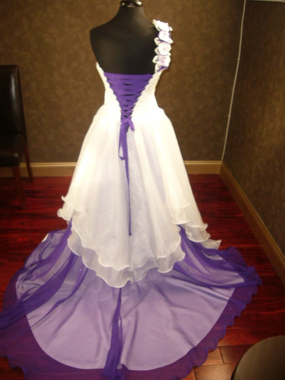Corset Fantasy Fairy Wedding Dress in Ivory and Purple Custom