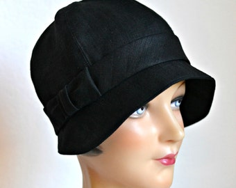 Black Linen Cloche Hat with Bow - 1920s Cloche - Hat - Women's Hat - Made to Order