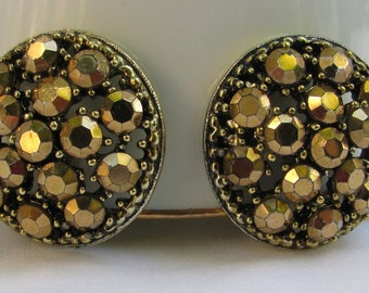 "Fantastic WEISS Signed Gold Washed Rhinestone Cluster Earrings, Over 1"", Vintage Gold Clip Backs"
