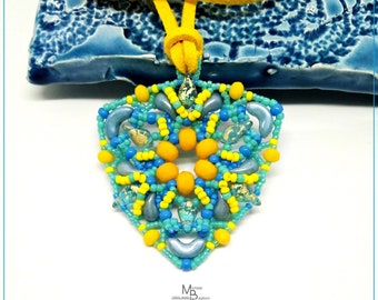 Yellow blue triangle pendant, triangular pendant, woman's gift Idea, beaded pendant, hand made summer pendant
