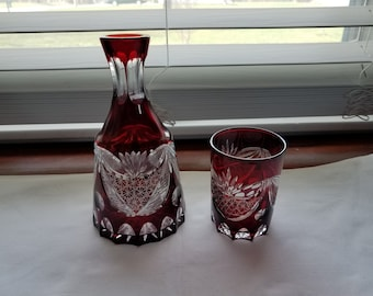 Antique Bohemian Ruby Red Cut to Clear Tumbler and Decanter collectible glass Tumble Up Bedside Set Victorian
