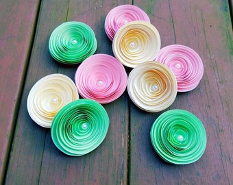 Loose Paper Flowers with Pearl Centers - Mint Green, Pink and Ivory - Weddings, Table Decor, Parties, Birthdays, Showers