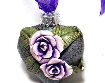 Purple Rose ornament- tree ornament- Christmas Ornament, Rose ornament, Purple Rose- holiday decor