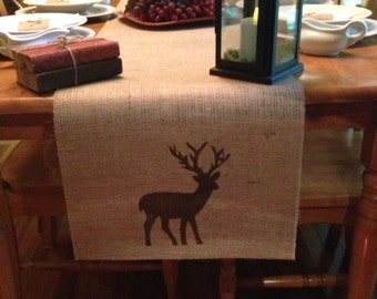 Burlap Table Runner with Deer silhouette - Cabin lodge decor Holiday decorating Hunting decor