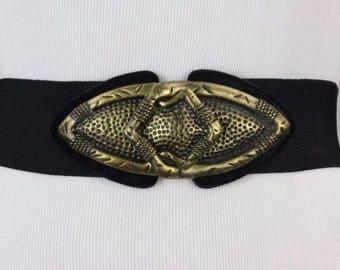 ON SALE Vintage 80s Arrowhead Heavy Metal Buckle Cinch Stretch Belt 29-32 M