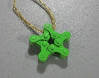 Green Bicycle Chain Star Ornamemt - Christmas Ornament, Bicycle Gift, Gear Ornament Up-cycled