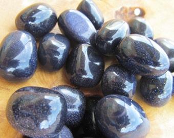 Blue Goldstone Medium Tumbled Stone