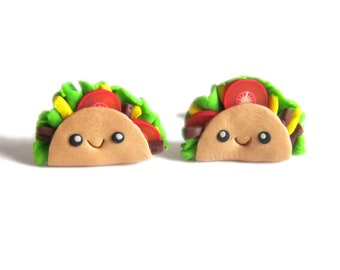 Funny Taco Earrings, Cute Jewelry Taco Jewelry, Taco Party, Taco Costume Polymer Clay Jewelry, Polymer Clay Food Earrings, Fake Food Jewelry