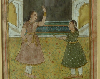 Indian Two Girls Temple Interior Painting Gouache Miniature Antique