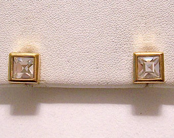 Square Princess Cut Crystal Stud Pierced Post Earrings Gold Tone Vintage Clear Faceted Stone Rimmed Raised Edges