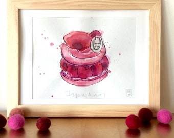 Ispahan Illustration - French Cake - Pastry  - Original Ink and Watercolour on Paper