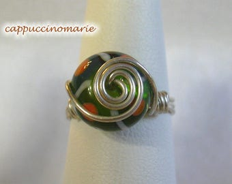 Green Orange Blue - Stripes and Dots - Sterling silver wire wrap ring Size 7