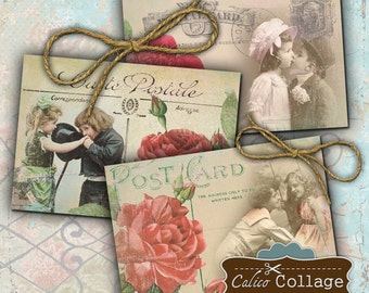 Printable, Young Love, Digital, Collage Sheet, Valentines Day, Mixed Media, Junk Journal, Hang Tags, Scrapbook Tags, Decoupage Images