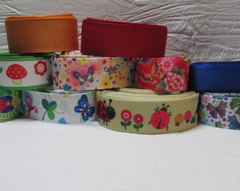 Grosgrain ribbon bundle 13 yards of butterflies, bugs, ladybug, snail, prints, with yellow, red and blue solid ribbon, Kit