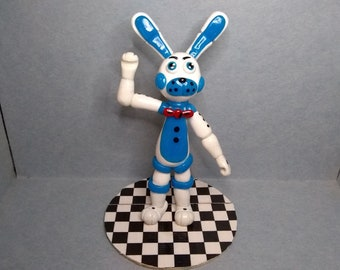 Fun time Bonnie, Five Night's at Freddy's, sculpture and cake topper, polymer clay crafts