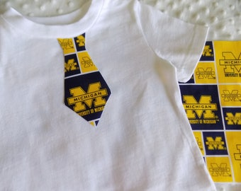 Michigan Wolverines 4 pc Burp Cloth and Onesie or Tee Set
