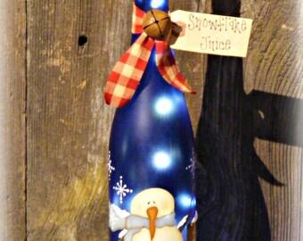 Lighted Snowman Wine Bottle ~ Snowman Decor ~ Christmas Decor ~ Christmas Gift ~ Wine Bottle Decor ~ Winter Decor ~ Snowman Decoration