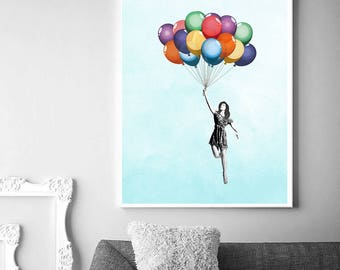 Girl with Balloons | Flying Lady | Printable Art | Wall Decor | Room Decor | Printable Poster | Printable Decor | Bright Wall Poster |