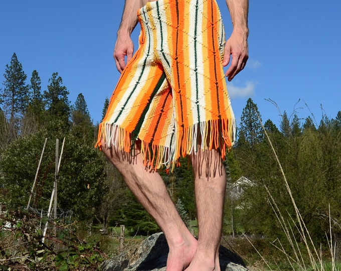 Crochet Shorts Longboard Orange Stripes and Fringe