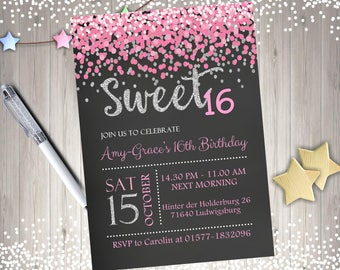 Sweet 16 Invitation sweet 16 birthday invitation sweet sixteen birthday party confetti pink silver digital DIY printable