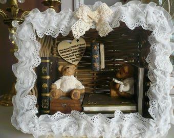Frame basket rattan bear sitting on books