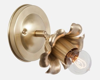 Brass Wall Sconce Light, Bloom Wall Sconce Lighting, Flush Mount Wall Lighting, Plug In Wall Sconce, Flower Wall Sconce, Bathroom Lighting