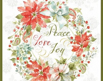 20% off thru 7/10 MAGIC OF the SEASON Wilmington prints Christmas cotton fabric panel Peace Love Joy watercolor floral-86435-173