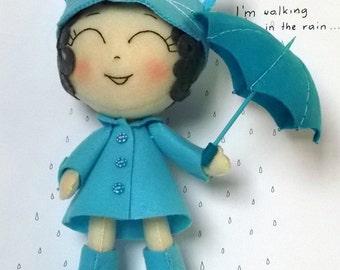 Blue Cat Girl with umbrella - Felt Chibi Handmade Doll