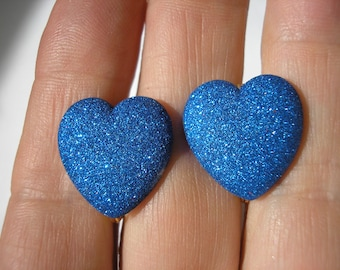 "Play Earring - Clip - Puffy Heart - Glitter Blue - 3/4"""