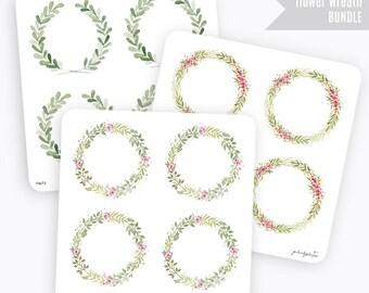 FW BUNDLE | Flower Wreath Sticker | Decorative Sticker | Planner Stickers | Bullet Journal Stickers
