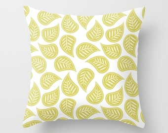 Leaves Pillow, Leaf Pillow, Leaves Throw Pillow, Leaves Pillow Cover, Green Leaves, Pillow Sham, Olive Green, Pattern, White, modern, chic