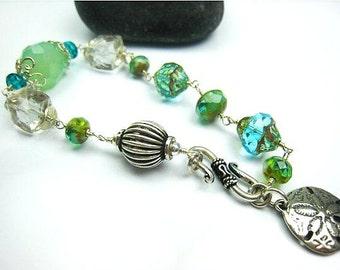 czech glass bracelet turquoise glass aqua green bracelet wire wrapped bracelet sand dollar crystal bracelet beach inspired gift idea for her