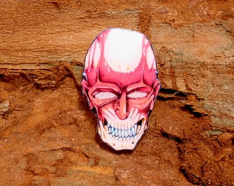 Day of the dead, Skull jewelry, face without skin, skull pin, skull brooch, clay skull, clay cranium, without a face.