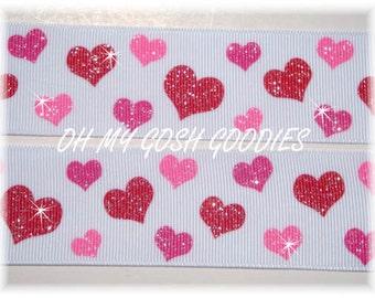 "GLITTER HEARTS Pink & Red grosgrain ribbon - 7/8"", 1.5"", 3"" - 5 Yards - Oh My Gosh Goodies Ribbon"