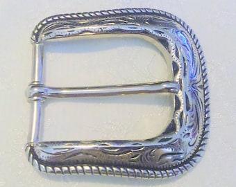 Vintage Embossed Silver Tone Western Belt Buckle