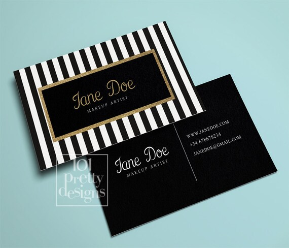 Top Gold glitter business card template stripped printable XT42