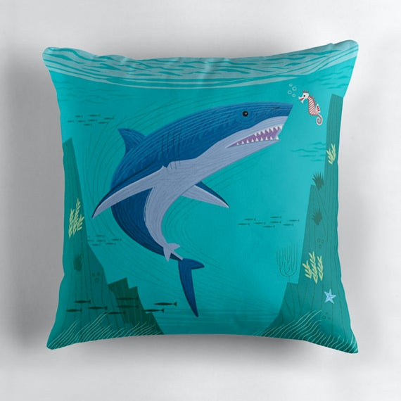 """The Shark and The Seahorse - Throw Pillow / Cushion Cover (16"""" x 16"""") by Oliver Lake"""