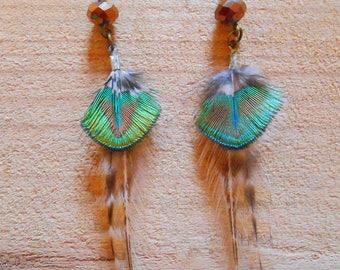 Earrings bronze green peacock feathers