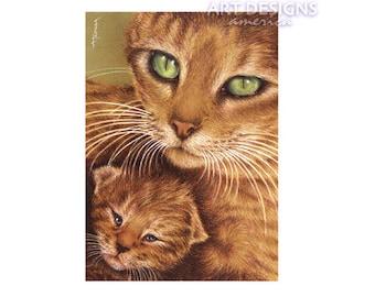 ACEO Art Print, Mother Cat and Kitten, Archival Art Print, Cat Pastel Drawing, SFA, Small Format Art, Art Card, Cat Painting, ADA-P378