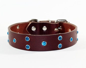 "Crystal Leather Dog Collar, Brown Leather Dog Collar, 1"" Brown Leather Dog Collar, Blue Crystal Leather Dog Collar, Made In Ca"