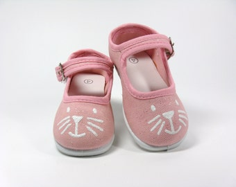 Kitten Shoes, Kitty Cat Face Hand Painted on Pink Mary Janes, For Baby or Toddlers, Animal Lovers Gift