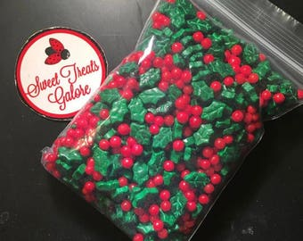 Holly and reindeer candy sprinkles