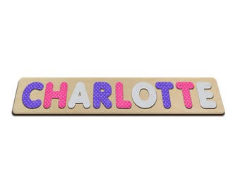 Pretty Polka-Dots Personalized Wooden Name Puzzles Child's Name Custom Made Puzzle Birthday Easter Christmas Gifts Valentine's Day 505968596