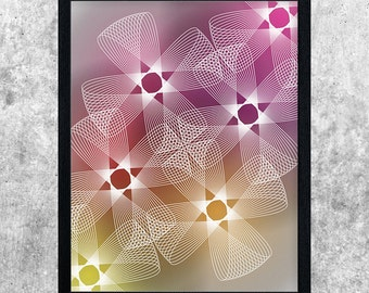 Geometric Art Print, Modern Poster, Yellow Orange Red Pink, Minimalist Print, Digital Download, Printable Art, Home Decor, Abstract Wall Art