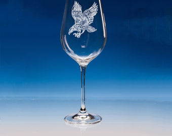 Eagle Wine Glass, Personalised Gift, Engraved Eagle, Gift For Bird Lover, Eagle Lover Glass, Eagle Gift For Him, Eagle Gift For Her, Eagle