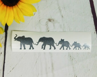 Family Car Decal Car Decal Elephant Car Decal Family Decal Family Car Sticker Elephant Decal Stick Figure Family Glitter Decal Family