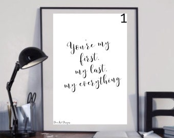 Barry White - My First, My Last, My Everything  Lyrics Music Print. Housewarming/Birthday Gift. Walrus Of Love.